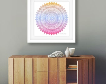 Colorful wall art large bohemian print 24x24 poster ombre artwork orange yellow print blue pink wall art bright home decor mandala boho room