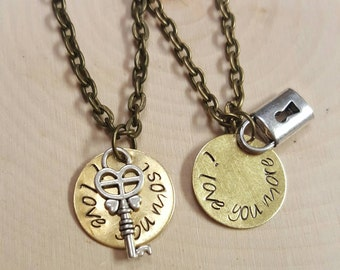 I Love You More I Love You Most Lock and Key Necklace Set - Mother Daughter Necklace - Mothers Day Necklace Set