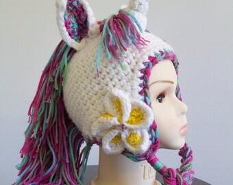 Unicorn beanie, Child size, Hand made crochet character earflap beanie & braids.