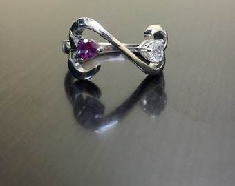 Sterling Silver Alexandrite Engagement Ring- Silver Heart Alexandrite  Wedding Ring - Alexandrite Heart Ring - Heart Silver Alexandrite Ring