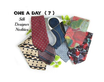 vintage tie lot, designer tie lot - necktie lot -  suit tie, gift for him, wide tie, 7 Ties,      # 174