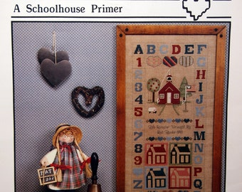A Schoolhouse Primer By Pat Thode and Heartstrings Vintage Cross Stitch Pattern Leaflet 1989