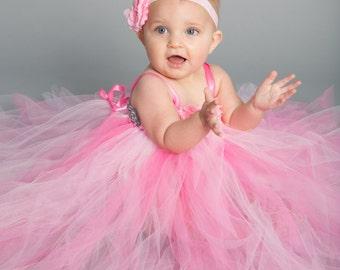 Flower girl dress - Tulle flower girl dress -Pink Dress - Tulle dress - Infant/Toddler - Pageant dress - Princess dress -Pink tutu dress-