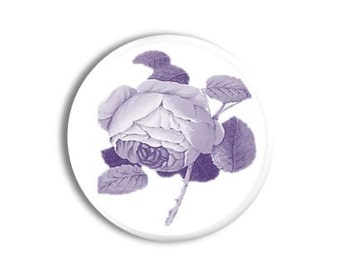 Purple and White Cabbage Rose Toile Door Knob - Violet, Victorian Decor, Garden, Flower, Floral, Etched - Dresser Knobs, Cabinet - 1214PICK