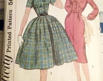 1950s Women's One-Piece Dress with Two Skirts Pattern Simplicity 2622 Vintage Sewing Size 16 Bust 36