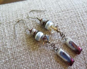 raku earrings, unique earrings, art earrings, artisan earrings, ceramic earrings, boho earrings, rustic earrings, urban earrings, unique