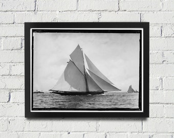 Sailing Photography Black and White Americas Cup Vintage Framed Art, Sailing Art, Office Art, Living Room Art, Historical Prints (104)