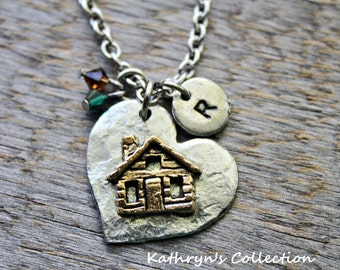 Log Cabin Necklace, Cabin Necklace, At the Cabin, Cabin Life