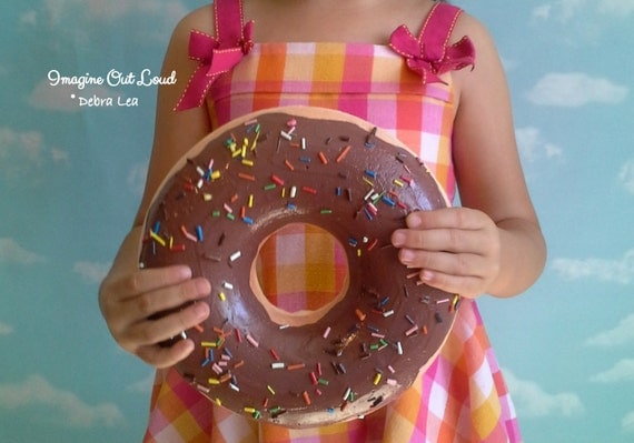 GIANT Faux Donut Fake Doughnut MILK Chocolate Wall Art Plaque with Sprinkles DECOR Cake Kitchen Display