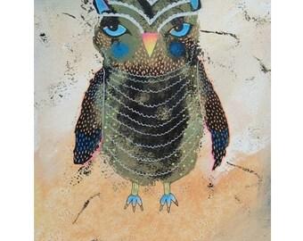 Owl Print Quirky Funky Art Painting Wall Decor Owls Baby Owls Birds Nursery Artwork Cute Big Eyed