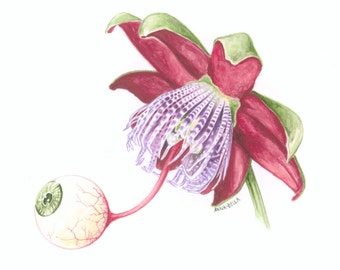 Surreal Blooming Passion Flower Giclée Art Print