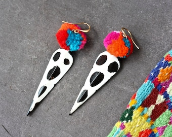 Pompom earrings,african bone earrings, boho earrings, colourful, colorful,  hippie earrings, festival earrings, giraffe print, 87