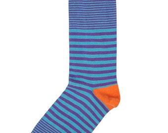 Purple, Blue and Orange Stripe Socks