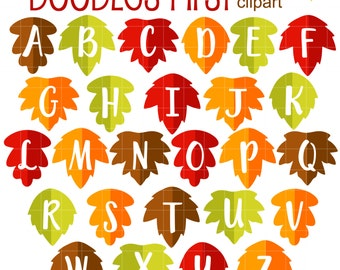 Falling Leaves Alphabet Clip Art for Scrapbooking Card Making Cupcake Toppers Paper Crafts