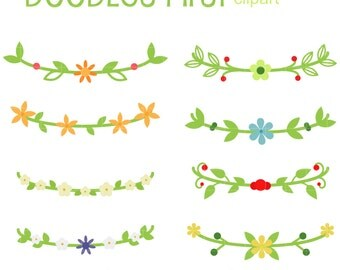 Flower Crowns Digital Clip Art for Scrapbooking Card Making Cupcake Toppers Paper Crafts