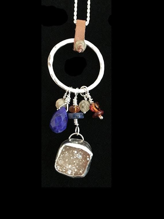 Quartz Druzy, Lapis, Citrine & Amber Charm Holder, Protection Healing Charm Necklace