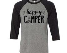 Happy Camper Baseball Tee, Spring Summer Shirt, Adventure Tee, Music Festival Tee, Camping Shirts, Happy Camper Shirt, Happy Camper T-Shirt