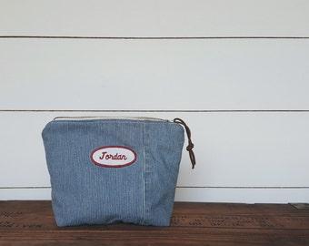 Railroad Denim & Vintage Workwear Patch Zipped Pouch