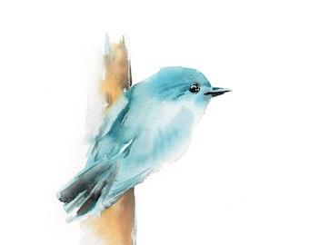 Painting of Blue Birdie, ORIGINAL Watercolor Painting, Minimalist Bird Painting, Watercolour Art