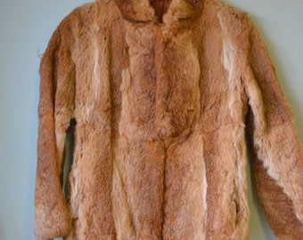 Vintage womens rabbit  fur jacket tan  colour  size 8 - 10 AUS