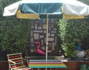 Vintage umbrella large green and white table shade picnic caravan kombi & Patio Furniture - Vintage | Etsy AU