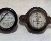 Industrial Gauges, Two Old 1920s Oven Temperature Gauges, Vintage Industrial Factory Salvage