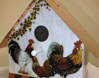 Roosters, Copper Roofed Birdhouse