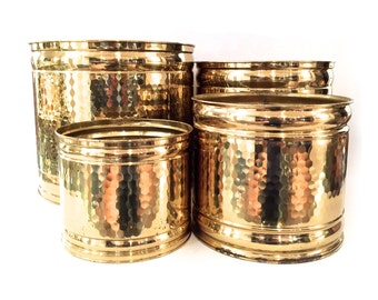 Large Hammered Brass Planters - Solid Brass Lacquered Planters - Shiny Brass Planters - Gold Planters - Hollywood Regency Brass Planters