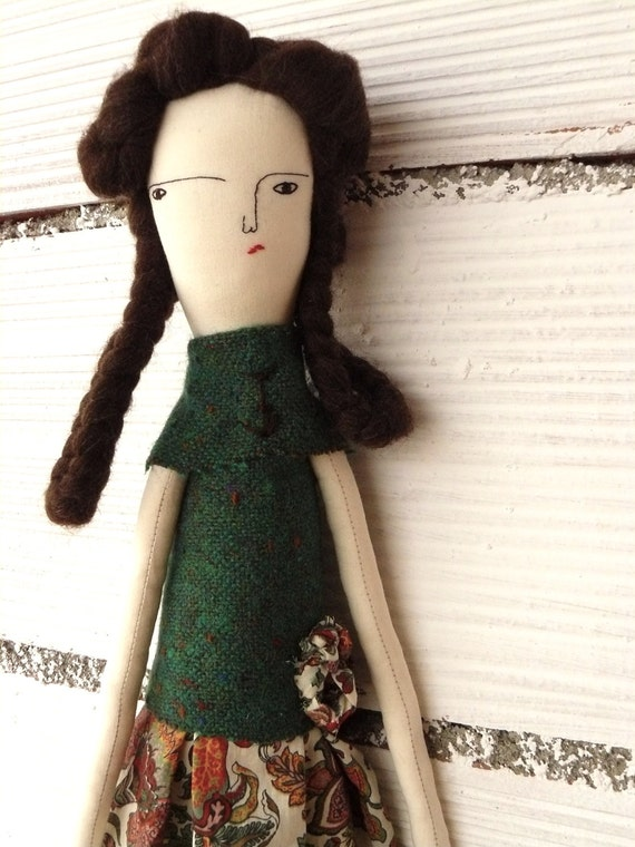 Artistic doll with pure wool hair. 19 inches