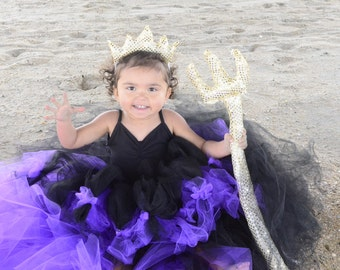 Sea Witch Ursula Little Mermaid Inspired Girls Purple and Black Bustle High Low Train Extra Fluffy Petti Tutu with Gold Crown and Trident