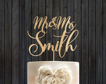Wedding cake topper, Mr & Mrs,  Wedding Cake Topper with YOUR Last Name, Rustic cake topper