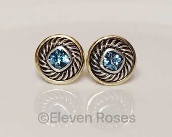 David Yurman Earrings 925 Sterling Silver 585 14k Gold Classic Cable Extra Large Disc Cookie Post Earrings
