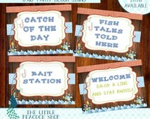 Fishing 8x10 Party Sign Wall Decor Centerpiece | Lake Fish Wood Plaid Camping Outdoors Birthday | INSTANT DOWNLOAD