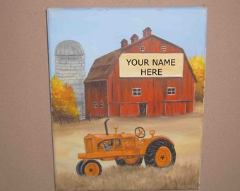 Allis-Chalmers ,Tractor Time - Our Farm, Personalized Print ,You Choose Name For The Sign On Barn,Size 8 x10 With 11x14 Mat Of Your Choice