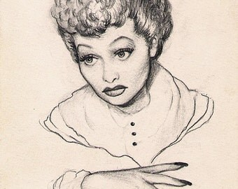 LUCILLE BALL original pencil drawing by Dave Woodman