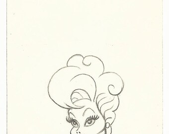LUCILLE BALL original petite pencil drawing for the US postage stamp