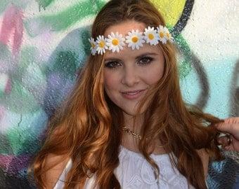 Daisy Flower Crown, Hippie Headband, The Popcorn White Daisy Flower Crown, EDC, Festival Wear