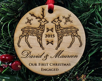 """Engagement Gifts for Couple - Christmas Ornaments Handmade - First Christmas Ornament Married - 1/4"""" THICK Premium Alder Wood // SKU# 306"""