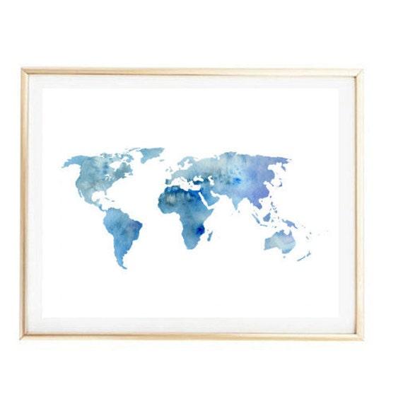 Blue World Map Painting Map Art Print Room Decor Typographic