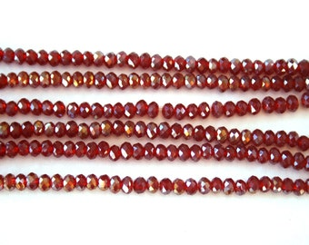 Red Crystal Rondelles,2mm Crystals,Red with Ab Coating Crystals,1 Strand.Red Faceted Crystal Beads,Red Crystal beads