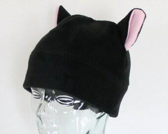 Black Fleece Kitty Hat, Black Cat Hat, Fully Lined Fleece Hat