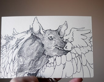 Pig Drawing, Pig with Wings, When Pigs Fly Postcard, Pig Illustration, Pig Postcard, Winged Pig, Animal Postcard, Farm Animal Art, A6 Print