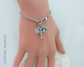 Catholic Bracelet - Miraculous Medal St. Benedict Crucifix Cross - Jesus Mary Our Lady Saint Jewelry Stainless Steel Chain Charm Bracelet