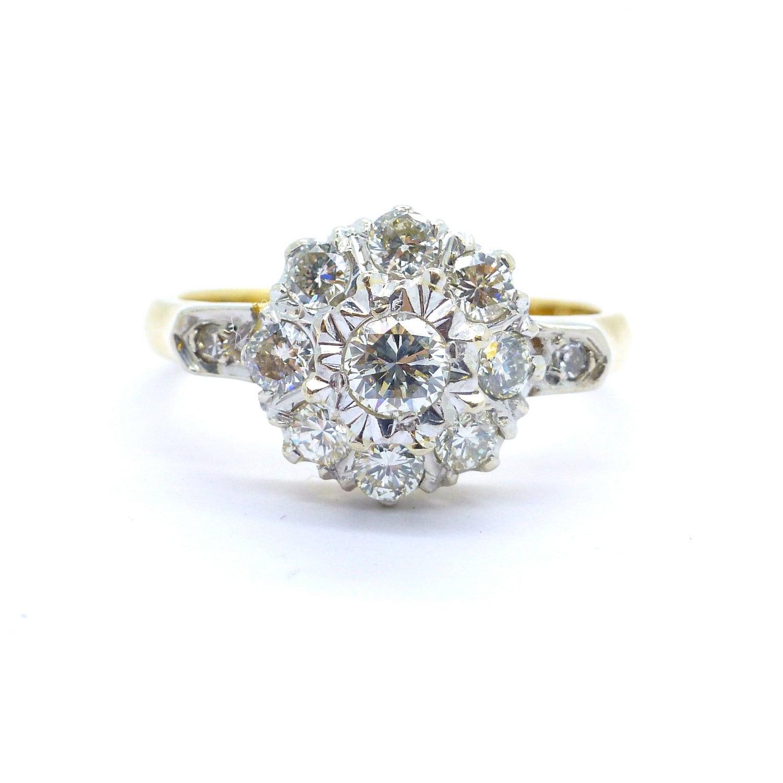 vintage cluster engagement ring 18ct 18k gold mid