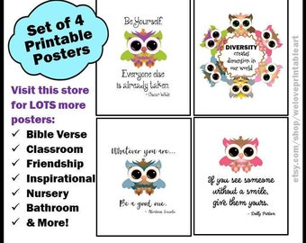 Owls Classroom Decor Set of 4 Printable Posters for Back to School with Motivational Quotes for Kids and Teachers