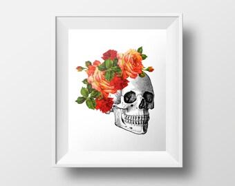 Skull Print INSTANT DOWNLOAD, Sugar Skull Print, Dia De Los Muertos, Macabre Floral Print, Floral Crown, Red Roses Mexican Art, Flower Crown