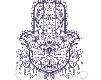 MACHINE EMBROIDERY DESIGN - Hamsa embroidery, Hamsa hand embroidery, Jewish embroidery