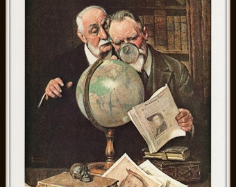 Norman Rockwell Art Print, Men Studying Globe, Settling an Argument, Classic 1922 Art, Vintage Book Plate Illustration, Ready to Frame