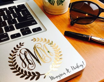 Gold Foil Laurel Wreath Monogram - Laptop, iPhone, iPad