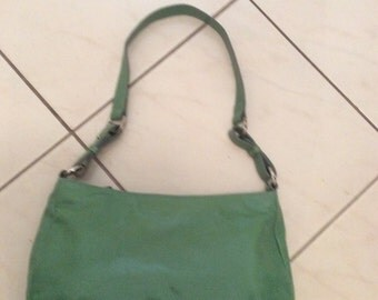 Vintage 70s 80s Green Hand Shoulder Bag ANNAPELLE Patent Leather